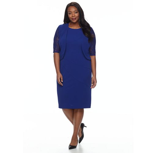 Plus Size Maya Brooke Textured Lace Dress & Jacket Set