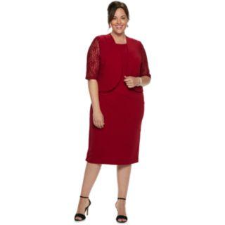 Plus Size Maya Brooke Textured Lace Dress & Jacket Set