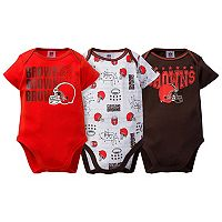 Baby Cleveland Browns 3-Pack Bodysuit Set