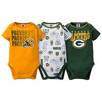Baby Green Bay Packers 3-Pack Bodysuit Set