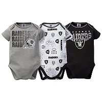 Baby Oakland Raiders 3-Pack Bodysuit Set