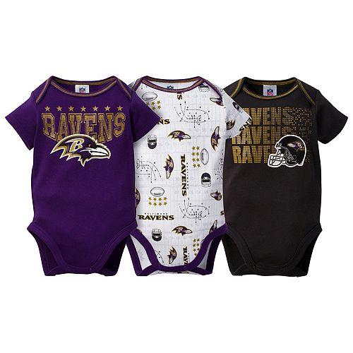 Baby Baltimore Ravens 3-Pack Bodysuit Set