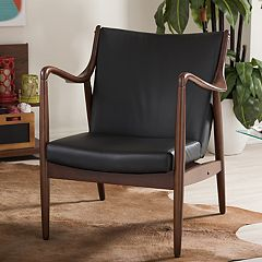 Baxton Studio Mid-Century Faux-Leather Accent Chair