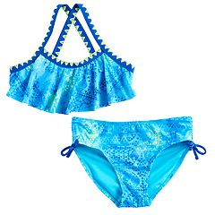 Girls 7-16 SO® Tie-Dye Tribal Pattern Criss-Cross Strap Bikini Top & Bottoms Swimsuit Set