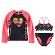 Girls 7-16 SO® 3-pc. Rainbow Sunset Rashguard Swimsuit Set
