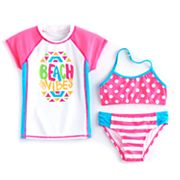 Girls 4-6x SO® Rashguard, Polka-Dot Bikini Top & Striped Bottoms Swimsuit Set