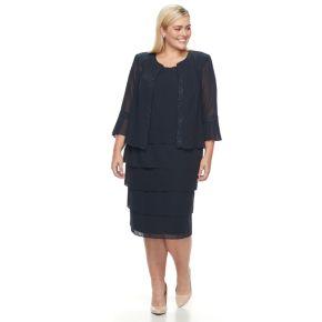 Plus Size Maya Brooke Tiered Dress & Jacke Set