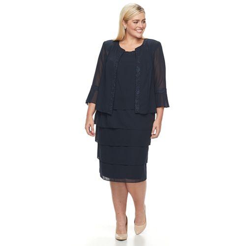 41cb50f1a3f96 Plus Size Maya Brooke Tiered Dress   Jacke Set