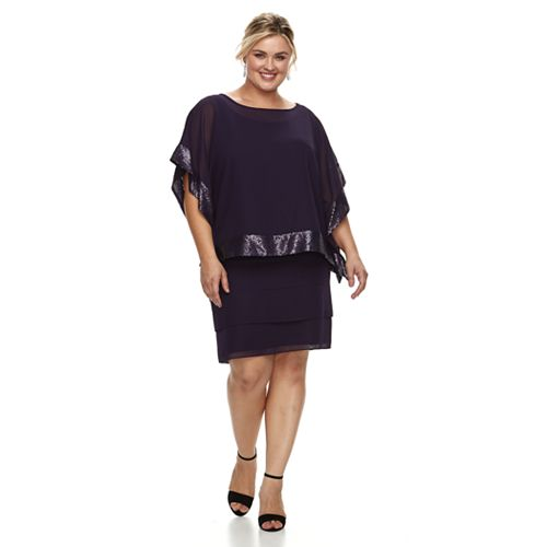 Plus Size Le Bos embellished Trim Dress & Jacket Set