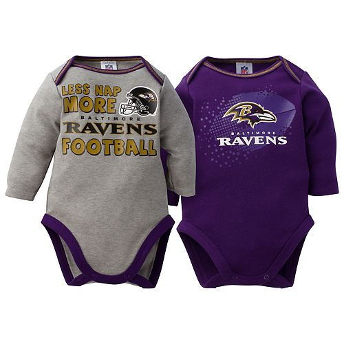 Baby Baltimore Ravens 2-Pack Bodysuit Set