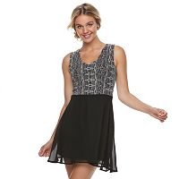 Juniors' Trixxi Embellished Scalloped Skater Dress