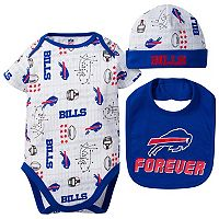 Baby Buffalo Bills 3-Piece Bodysuit Set