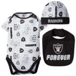 Baby Oakland Raiders 3-Piece Bodysuit Set