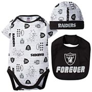Baby Oakland Raiders 3 pc Bodysuit Set