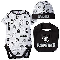 Baby Oakland Raiders 3-Piece Bodysuit Set