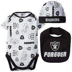 Baby Oakland Raiders 3 pc Bodysuit Set