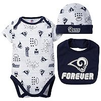 Baby Los Angeles Rams 3-Piece Bodysuit Set