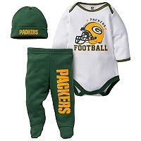 Baby Green Bay Packers 3 pc Footed Bodysuit Set