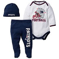 Baby New England Patriots 3-Piece Footed Bodysuit Set