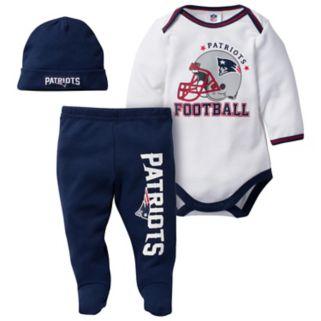 Baby New EnglandPatriots 3-Piece Footed Bodysuit Set