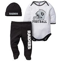 Baby Oakland Raiders 3-Piece Footed Bodysuit Set