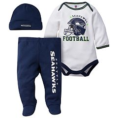 Baby Seattle Seahawks 3 pc Footed Bodysuit Set