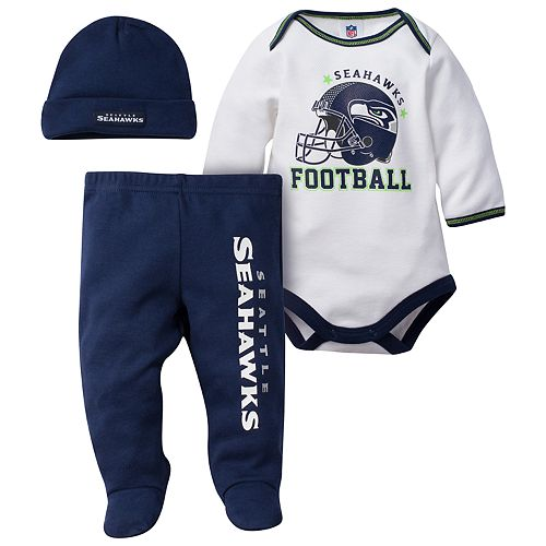 Baby Seattle Seahawks 3-Piece Footed Bodysuit Set