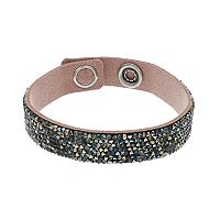 Simply Vera Vera Wang Black Faux Leather Wrap Bracelet with Swarovski Crystals