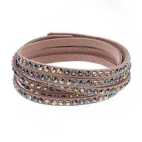 Simply Vera Vera Wang Pink Faux Leather Multi Row Wrap Bracelet with Swarovski Crystals