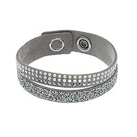 Simply Vera Vera Wang Gray Faux Leather Double Row Wrap Bracelet with Swarovski Crystals