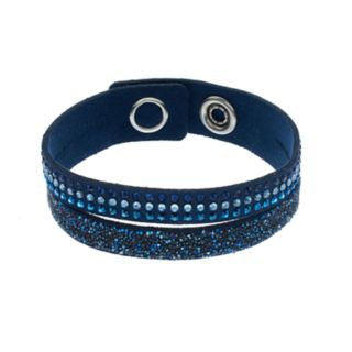 Simply Vera Vera Wang Blue Faux Leather Double Row Wrap Bracelet with Swarovski Crystals