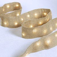 Manor Lane 10-ft. LED Burlap Ribbon Table Decor