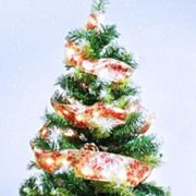 Manor Lane LED Poinsettia Ribbon Christmas Tree Decor