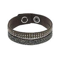 Simply Vera Vera Wang Dark Gray Faux Leather Double Row Wrap Bracelet with Swarovski Crystals