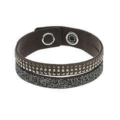 Simply Vera Vera Wang Dark Gray Faux Leather Double Row Wrap Bracelet with Swarovski Crystals