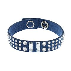 Simply Vera Vera Wang Blue Faux Leather Wrap Bracelet with Swarovski Crystals