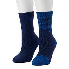 Women's Columbia 2-pk. Snowflake Stripe Wool Crew Socks