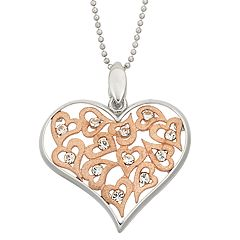 Two Tone 14k Rose Gold Over Silver Crystal & Filigree Heart Pendant Necklace