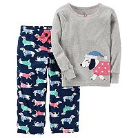 Girls 4-14 Carter's Dog Applique Top & Printed Pants Pajama Set