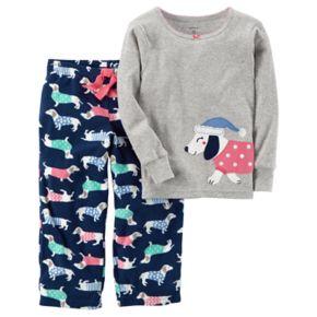 Girls 4-14 Carter's Dog Applique Top & Printed Pants Pajama Set