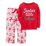 "Girls 4-14 ""Santa's Little Helper"" Graphic Top & Print Fleece Pants Pajama Set"
