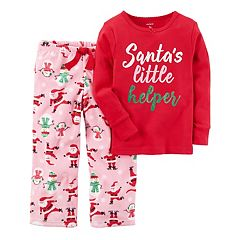 Girls 4-14 'Santa's Little Helper' Graphic Top & Print Fleece Pants Pajama Set