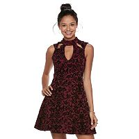 Juniors' Three Pink Hearts Floral Scuba Skater Dress
