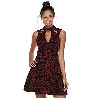 Juniors' Trixxi Floral Scuba Skater Dress