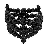Simply Vera Vera Wang Black Beaded Multi Row Stretch Bracelet