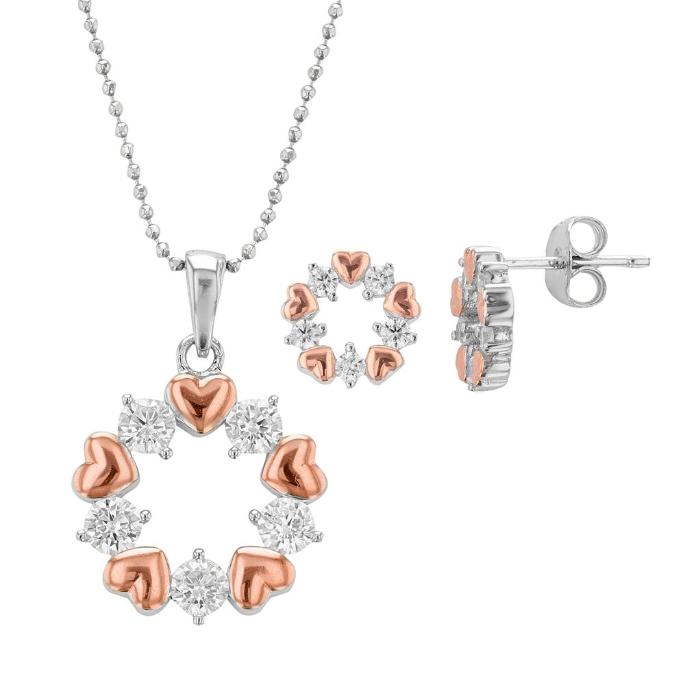 Two Tone Sterling Silver Cubic Zirconia Heart & Circle Jewelry Set
