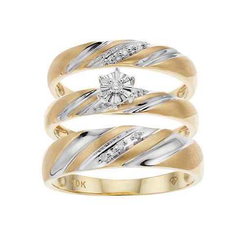 10k Gold Two Tone Diamond Accent Trio Wedding Ring Set