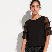 k/lab Dot Mesh Sleeve Top