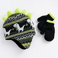 Baby Boy Dinosaur Knit Hat & Mittens Set