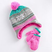 Toddler Girl Fairisle Knit Hat & Mittens Set